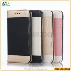 Hottest Dual colors pc pu Leather Wallet/cards slots Case For iphone 6s,for iphone 6s plus pc pu leather cases