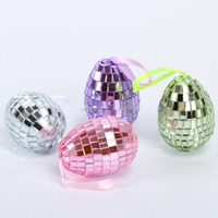 promotional superior quality holiday artificial hanging custom iridecent decorated glass easter eggs