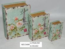 Elegant flesh pink flowers on blue style upright wooden book box