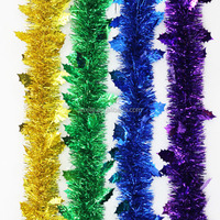 Hot selling wreath supplies wholesale Clover Shape Tinsel Garland Metallic Pvc Green Christmas Tinsel