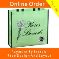 Light Green Color Full Color Offset Printing Custom Non Woven Shopping Bags