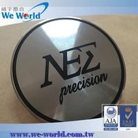Aluminum chrome finish wheel center cap with lacquer coating
