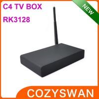Cheapest C4 TV BOX 4k IPTV RJ45 Quad core AV Rockchip RK3128 TV dongle