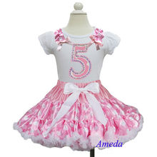 Pink White Polka D Pettiskirt with Pink White Polka Dots Ruffles Bling 5th Birthday White Short Sleeves Top Party Dress 1-7Y