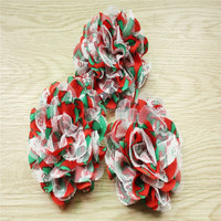 """Red with Green shabby Chiffon & Lace Flower- 3.75"""" Chiffon Lace Flower"""