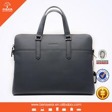 Guangzhou Bag Factory wholesale Blue Genuine Leather Business Men's Office Laptop Leather Briefcase Shoulder Bags