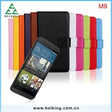 Genuine book style leather case for HTC one M9, for HTC M9 flip wallet leather case