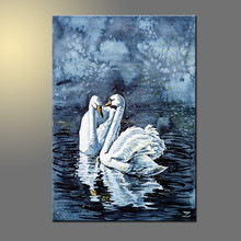 Dark and Gary Colors Scarce Animal Swan Couple Swan Oil Painting