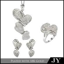 Venta al por mayor de artículos de lujo del corazón- en forma de indio joyería nupcial conjuntos