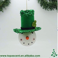 fashionable hand blown glass christmas snowman head ornament wholesales from direct factory in China