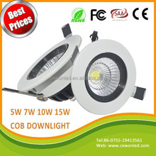 Best sales high lumens 30 degree COB downlight AC85-265V 5W 7W 10W 15W led down lights CE ROHS with 3 years warranty