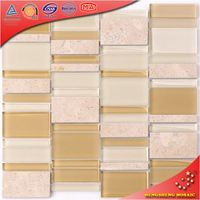 HKS39 Beige Kitchen Wall Covering Marble Mosaic / Marble Mosaic Tile