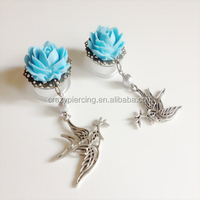Cool Rose Plugs Doves Blue Red Turquoise Ear Tunnel Piercing Body Jewelry