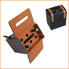High-end 6 slots leather wine case