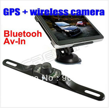 Hot Sale 7 inch Bluetooth,AV-IN car gps navigation with wireless rearview camera gps tracker with camera