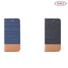 retro flip stand canvas phone sleeves for iphone 6 with luxury leather