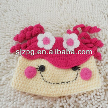 smile face baby beanie baby lace crocher hat with patterns flower toddler hat