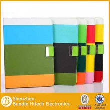 Rainbow Stripes Metal Buckle Contrast Color Card Slot Stand Leather Case For ipad Air