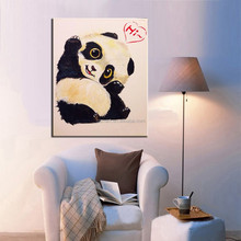 Baby Room Wall Decor Lovely Animal Baby Panda Says Hi Oil Painting On Canvas