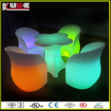 Outdoor garden furniture set illuminated plastic furniture with LED light