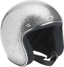 Fashion Motorcycle Half Helmet,3/4 Brite Silvery Mega Flake Flashing Light Half Helmet