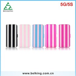 Colorful Strips Leather Wallet Case For iPhone 5/5s, For iPhone 5/5s PU Flip Cases