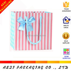 offset printed korea fashion pink and blue banded bag with ribbon bow