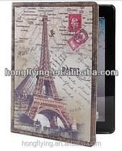 Wholesale Eiffel Tower Pattern PU Leather Case for iPad and iPad 2