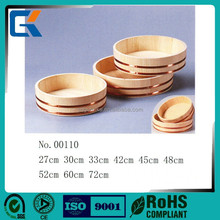 Handmade promotional wooden sushi rice bowl for mixing vinegar and rice