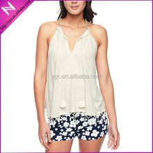 lady's strappy embroidered halter top
