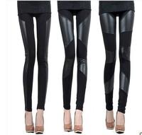 S M L XL 2XL 3 Patterns Zanzea 2015 New Slim Fit Women Splicing Sexy Stretch Stripe Cotton Faux Leather Legging Pants