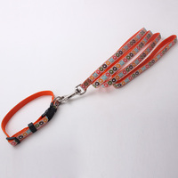 Personalized woven label nylon dog collar and leash