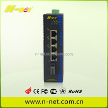 n-net high quality 5 port 10/100M fiber industrial poe switch/media converter 1iber port with 4 etherent port