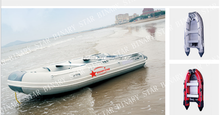 Inflatable Boat with Aluminum Floor, Heavy Duty Design, Pontoon Diameter /Inflatable Boat Set with aluminum Oars and Air Pump