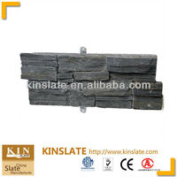 S-0554 Classic black slate stone cement backing Z shaped decorative bricks