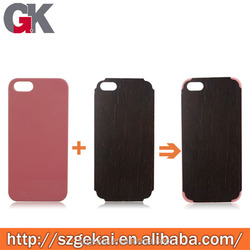 For IPhone 5 pc+ leather/ wood fashion customised phone case