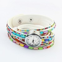 Free shipping folk style multi-layer rainbow color acrylic chain watch