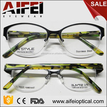 Half-rimless stainess steel frame and acetate temple optical frame