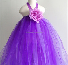High quality baby dress purple ball gown dresses for kids