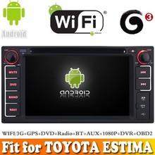 Pure android 4.4 system car dvd radio gps navigation fit for TOYOTA ESTIMA WITH CHIPSET WIFI 3G INTERNET DVR OBD2 SUPPORT