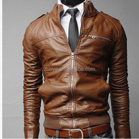 Fashion Hot-selling original h&m men brown leather jacket