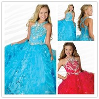 Fashion High Quality Custom Made Girls Blue Ball Gown Halter Ruffled Beaded Long Flower Girl Dress Pageant Children's Prom Gown