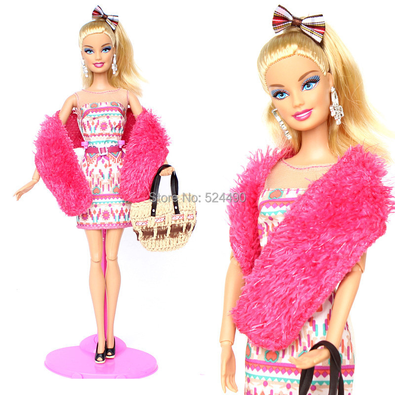 (Mix Delivery) 2014 New Garments Set Swimsuit Equipment Rose Flower Gown Skirt Tippit Scarf Outfit For Kurhn Barbie Doll