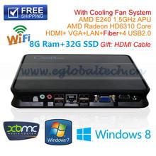 Compact Computer Mini Nettop Slim PC With 8G DDR3 Ram 32G SSD AMD E240 1.5Ghz HOMI Fiber VGA USB2.0 XBMC Openelec