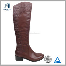 Emboss texture genuine leather brown cheap snow boots
