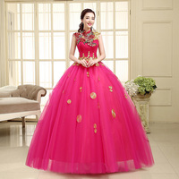 China style vintage embroidery rose red wedding Dresses 2015/ball gown dresses