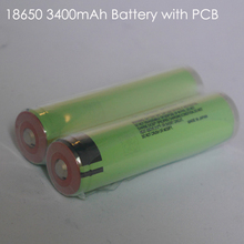 Protected 18650 3.7V 3400mAh For Panasonic batteries NCR 18650B Flashlight Battery PCB