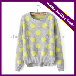 fashion girl crew neck grey with yellow dots lovely pullover sweater