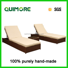 Hot sell outdoor wicker furniture rattan sun lounger with tea table
