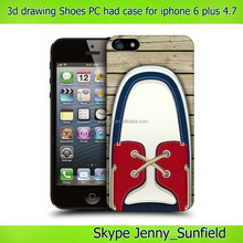 for iphone 6 plus pc case 3d drawing, fashion shoes ultra thin pc hard case for iphone 6 plus 4.7